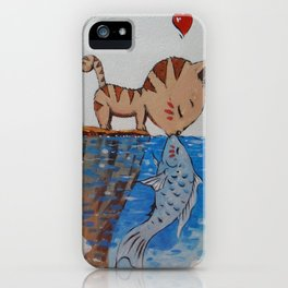 Love cats and fish iPhone Case
