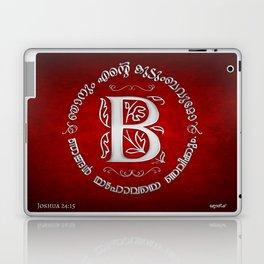 Joshua 24:15 - (Silver on Red) Monogram B Laptop & iPad Skin