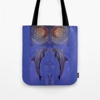 dolphins Tote Bags featuring dolphins by ARTito