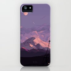 Mt Rainier with Powerlines iPhone SE Slim Case
