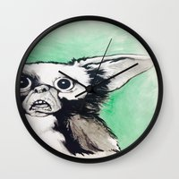 gizmo Wall Clocks featuring Gizmo Holiday by Lacey Hunt Art