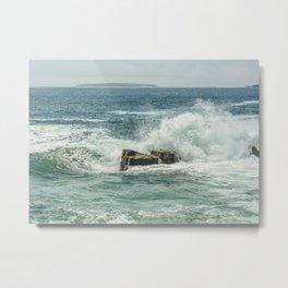 Acadia Maine Crashing Waves Metal Print