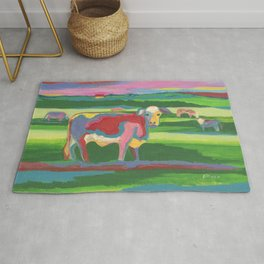 Psychedelic Cow Rug