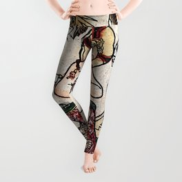 The Child Jesus (Happy New Year) Woodblock Greeting Card Leggings