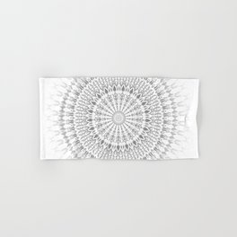Light Grey White Mandala Hand & Bath Towel