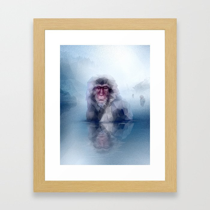 Macaque (Low Poly Ice Snow Monkey) Framed Art Print