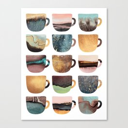 Earthy Coffee Cups Canvas Print