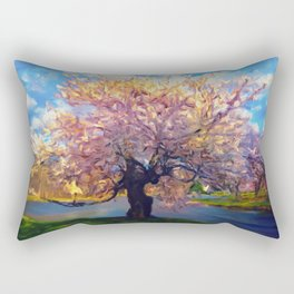 Blooming Tree Impressionist Painting Rectangular Pillow