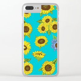 Sunflower Grunge Pattern Clear iPhone Case