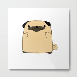 Pug Flipping Double Bird Metal Print