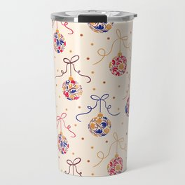 Christmas Balls Blue&Ivory Travel Mug
