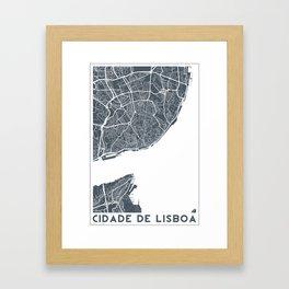 Lisboa Map Framed Art Print
