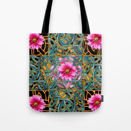 Black-gold & Aqua Fuchsia Dahlias Inter-twining Art Nouveau Tote Bag