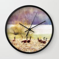 canada Wall Clocks featuring Canada Geese by Christine Belanger
