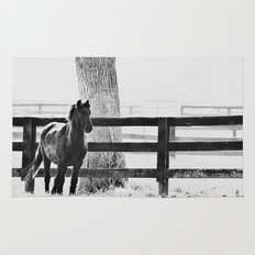 horse by the fence Rug