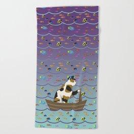 Captain Cat in purple fade Beach Towel
