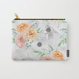 Beautiful Pastel Flowers on Marble Carry-All Pouch