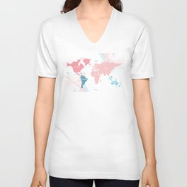 soft modern word map Unisex V-Neck