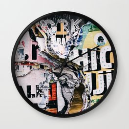 Torn mexican posters wall Wall Clock