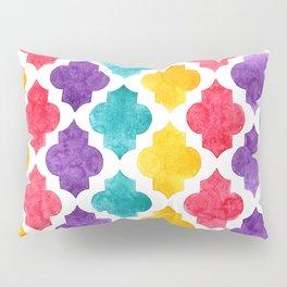 Colorful quatrefoil pattern in watercolor Pillow Sham
