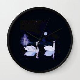 Swan lake at midnight Wall Clock