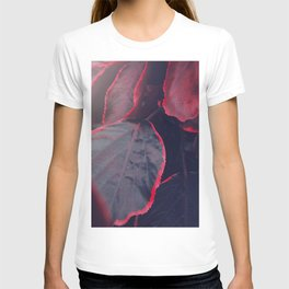 Sensual Red & Dark Purple Leaves Abstract Photography Patterns In Nature T-shirt