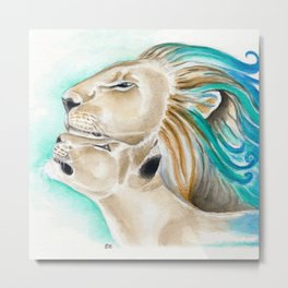 Two Lions Watercolor Art Metal Print