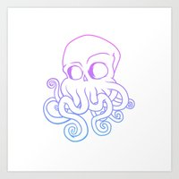 cthulu Art Prints featuring Call me Cthulu  by KickPunch