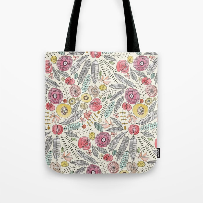 feather fleur watercolor Tote Bag