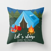backpack Throw Pillows featuring Camping blue tent by Juliana RW