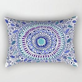 Indigo Flowered Mandala Rectangular Pillow