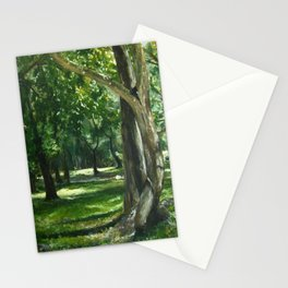 Green Nature Landscape Tree Forest Painting 'Midday Reverie'  Stationery Cards