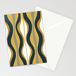 Hourglass Abstract Mid Century Modern Retro Pattern in Mustard Yellow, Navy Blue, Grey, and White Stationery Cards