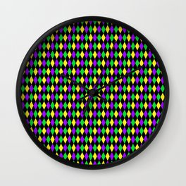 Mardi Gras Diamonds on Black Wall Clock