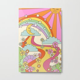 retro hippie boho print  Metal Print
