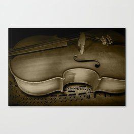 Cello Stringed Instrument with Sheet Music a Sepia Toned Photo Canvas Print