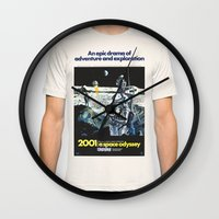 2001 Wall Clocks featuring 2001 by Neon Wildlife