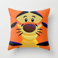 cartoons Throw Pillows featuring Cute Orange Cartoons Tiger Apple iPhone 4 4s 5 5s 5c, ipod, ipad, pillow case and tshirt by Three Second