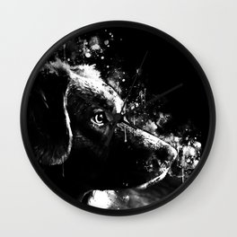 retriever dog ws bw Wall Clock