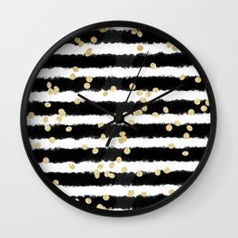 Modern black watercolor stripes chic gold confetti Wall Clock