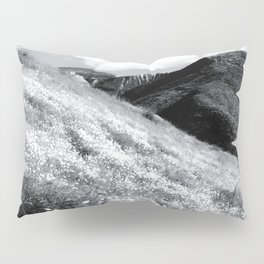 poppy flower field with mountain and cloudy sky background in black and white Pillow Sham