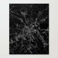 poland Canvas Prints featuring Warsaw map poland by Line Line Lines