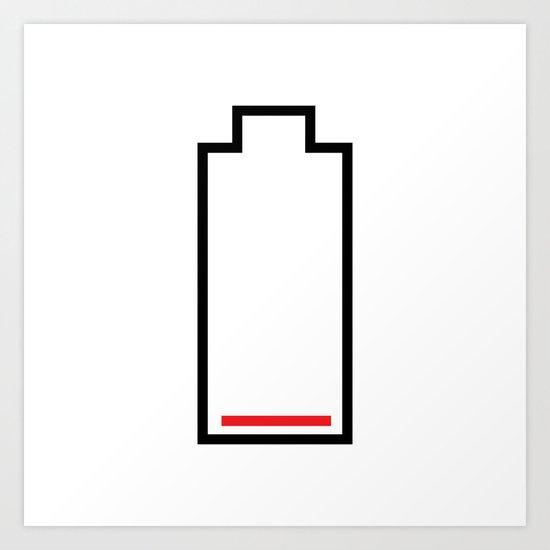 Empty Battery Art Print