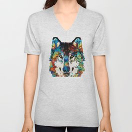 Wolf Art Print - Hungry - By Sharon Cummings Unisex V-Neck