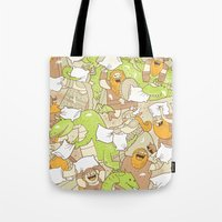 vikings Tote Bags featuring Vikings vs Dragons by Anna-Maria Jung