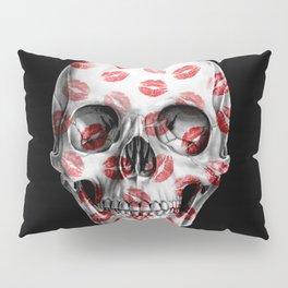 Kisses Skull Black Pillow Sham