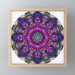 Floral finery - kaleidoscope of blue, plum, rose and green 1650 Framed Mini Art Print