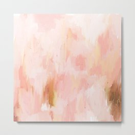 Abstract minimal peach, millennial pink, white and gold painting Metal Print