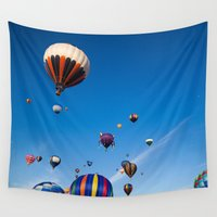hot air balloons Wall Tapestries featuring Vibrant Hot Air Balloons by Nicolas Raymond
