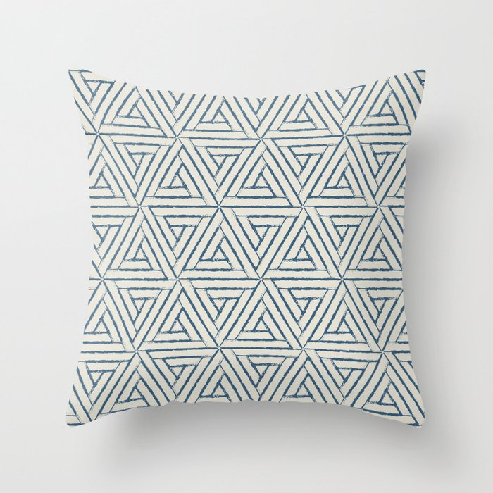 Blue & Linen White Aztec Tribal Triangle Pattern Pairs To 2020 Color of the Year Chinese Porcelain Throw Pillow